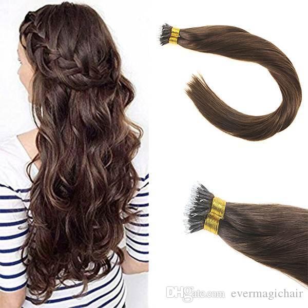 Vente chaude de haute qualité pas cher prix Nano Anneau Extensions de Cheveux # 4 Vierge Brésilienne Remy Cheveux Humains