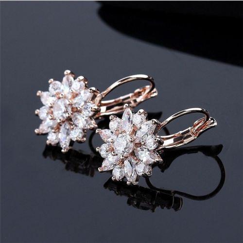 실버 / 로즈 골드 컬러 패션 여성 눈 꽃 후프 귀걸이 큐빅 지르코니아 Earings 귀 후프 웨딩 파티 보석 액세서리