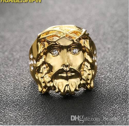 HUAIBEISHIPIN 24K Oro Hip Hop Bling Bling Cristallo Croce Gesù Pezzo Anelli Alta Qualità Moda Fascino Punk gioielli Accessorie
