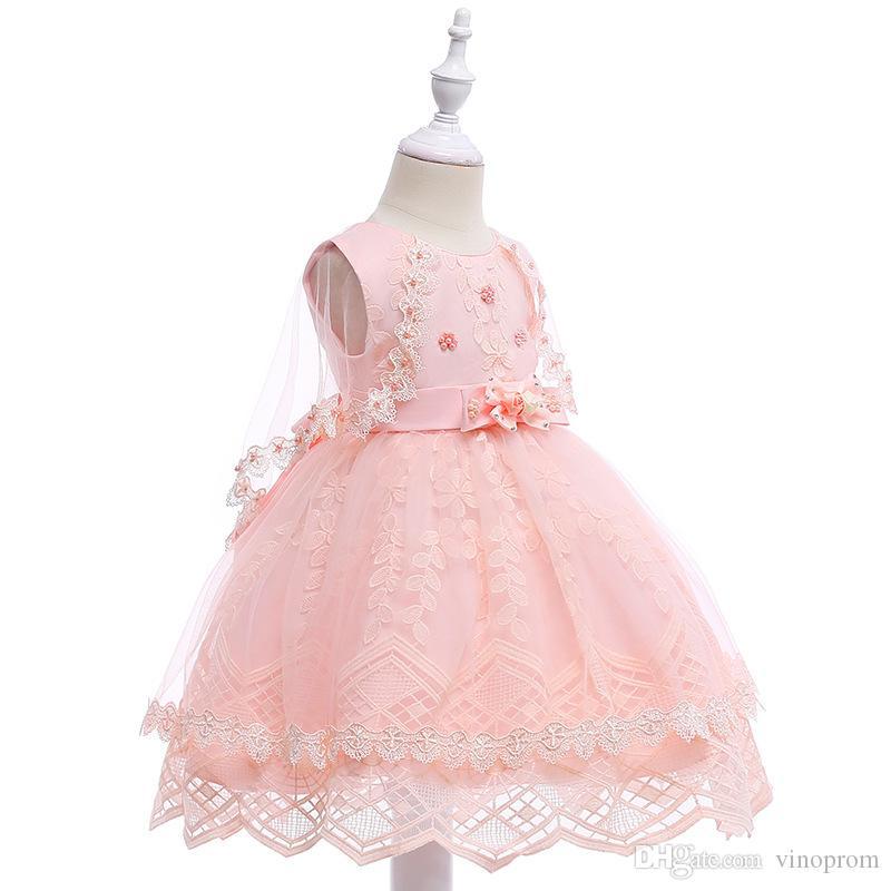Abito da sera lungo ricamato principessa abito da sera con fiocco grande Vestito da ragazza di fiore elegante elegante rosa per bambini