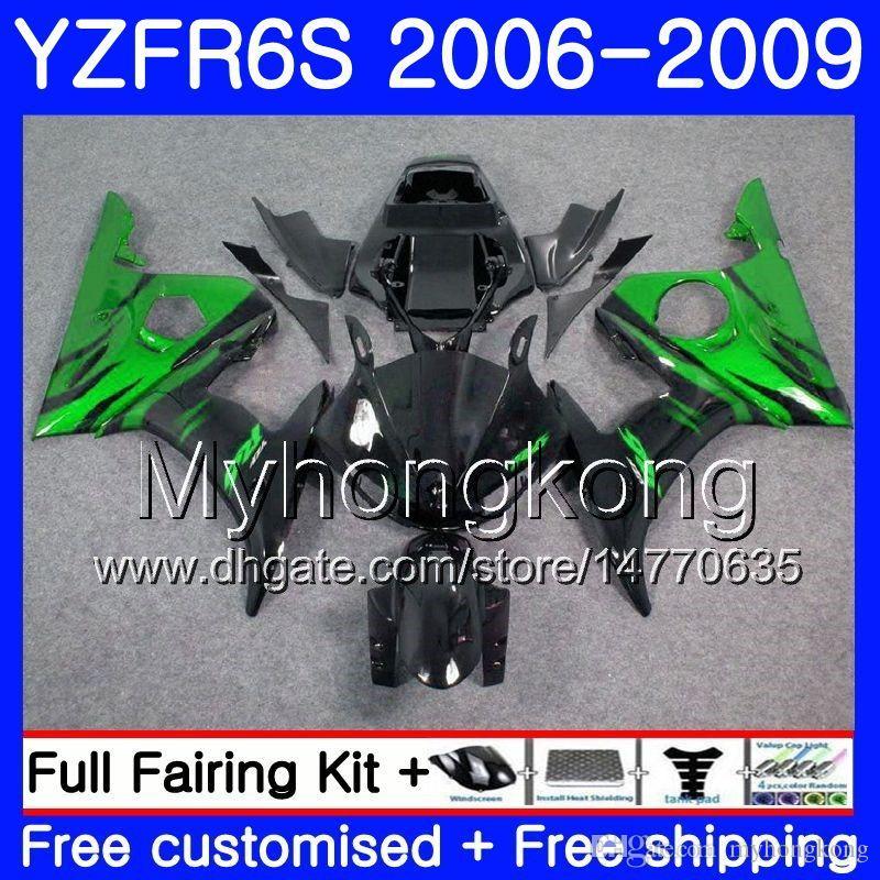 Cuerpo para YAMAHA YZF R6 S R 6S YZF600 YZFR6S 06 07 08 09 231HM.0 YZF-600 YZF R6S YZF-R6S 2006 2007 2009 Kit de carenajes Kit Green Flames Black