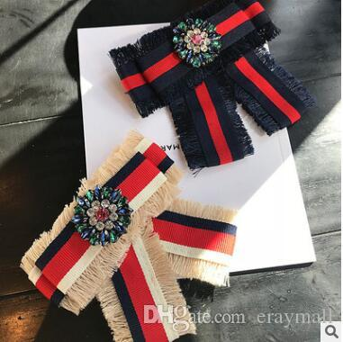 Bow bowknot diamond embroidered Brooches For Women Pin 2018 Real Brooches Embroidered Rose Bowknot Brooches Shirt Collar Accessories Flower