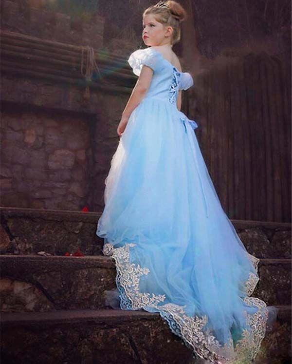 Compre Formal Cap Manga Azul Cielo Vestido De Niña Vestidos De Niña De Las Flores Para La Boda De La Muchacha Piso De Longitud Fiesta De Cumpleaños