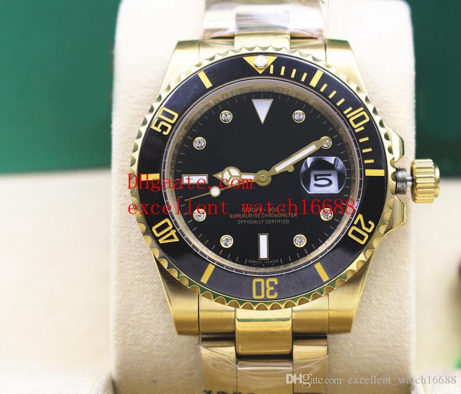Hot Sell Orologi di moda 40 mm 116613 116619LB oro giallo 18 carati lunetta in ceramica con diamanti quadrante nero Asian 2813 uomini meccanici automatici Wri