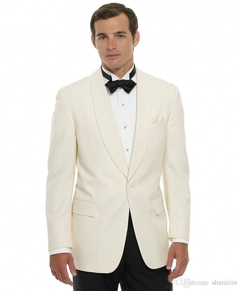 Il nuovo arrivo a buon mercato Avorio smoking dello sposo scialle risvolto migliore Groomsmen Suit 2018 Abiti da sposa due pezzi Mens (Jacket + Pants + Tie)