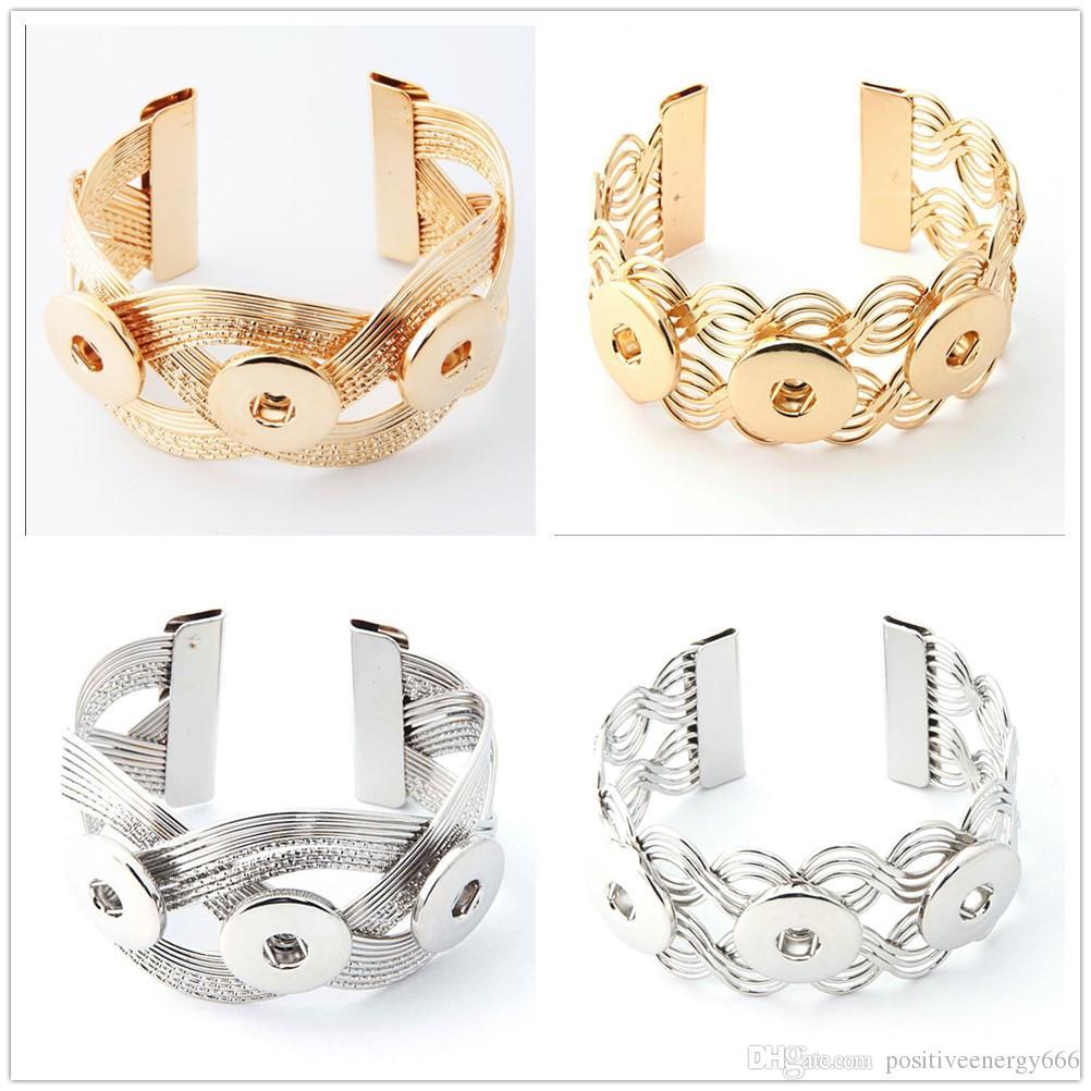 Women's Fashion Charm bangle Retro alloy gold Silver Bracelets 18MM Snap Button Bracelet Handmade diy jewelry cuff link hand chain gifts