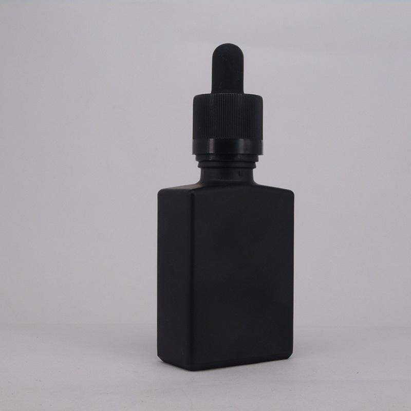 도매 15ml 및 30ml 빈 검은 무광택 사각형 유리 전자 액체 병 사각 유리 에센셜 오일 dropper 병