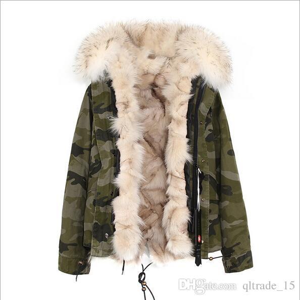 bella pelliccia di procione beige trim maomaokong marca beige pelliccia di volpe foderata camouflage shell mini parka giacche calde con cerniera ykk