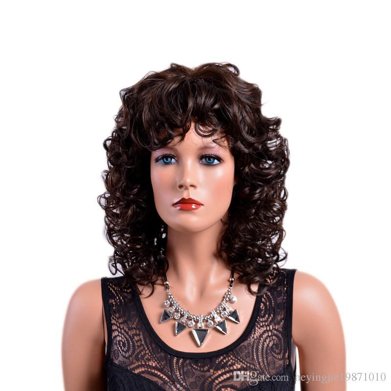 Xiu Zhi Mei venta caliente marrón rizado pelucas sintéticas con flequillo Afro pelo natural completo medio Ombre peluca para mujeres