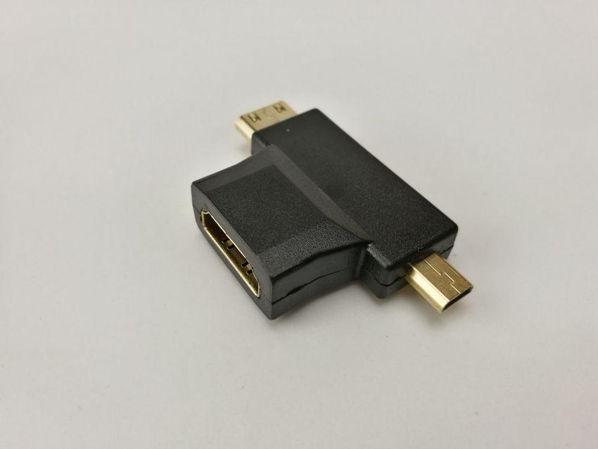 MicrTop Satış Mini 3 1 HDMI Kadın Mini HDMI Erkek + Mikro HDMI Erkek Adaptörü Metal / Plastik Konnektör Siyah Ücretsiz Kargo 200 adet / grup