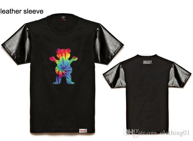 2018 Nueva Grizzly x diamante camiseta Hombres Deporte de manga Corta de lujo diseño Impreso Camiseta Hombres Hipster Ropa camiseta Streetwear Tees Camisas