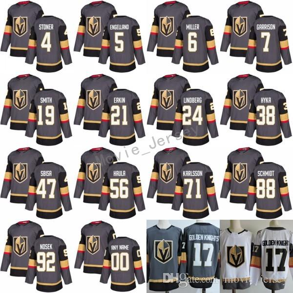 2017-2018 New Jerseys Custom 19 Reilly Smith 5 Deryk Engelland 56 Erik Haula 88 Nate Schmidt 38 Tomas Hyka Gray White