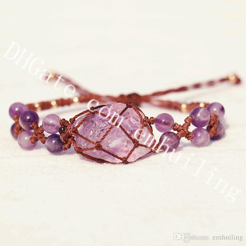 1Pc Natural Purple Amethyst Women's Men's 6mm Gemstone Beaded Bracelet Netted Mini Raw Rough Amethyst Stone Macrame Adjustable Wrap Bracelet