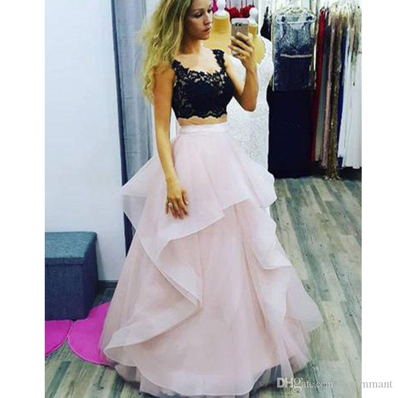 Two Piece Black And Pink A-line Tulle Lace for Teens Ball Gown Prom Dress organza Homecoming Dress