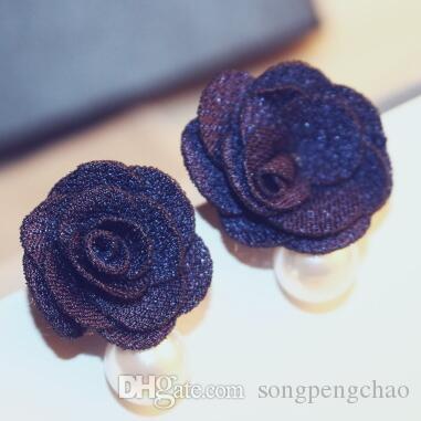 Novo design de moda europeus vintage doce flor de tecido brincos de mulheres coreanas Pérola Encantos Brincos Jóias Acessórios