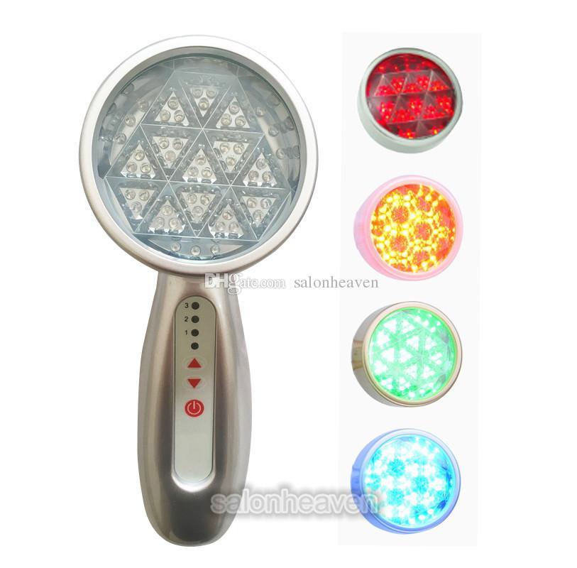 Mini El LED Foton LED Işık Yüz Makinesi Cilt Beyazlatma Cilt Gençleştirme PDT LED Işık Terapi 4 Renkler Kırmızı Mavi Yeşil Sarı