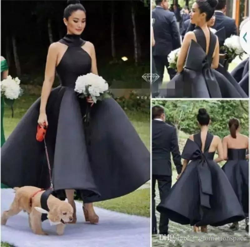Elegante abito da ballo satinato abiti da damigella d'onore moda moda collo alto grande caviglia lunghezza caviglia abiti glamour dubai formale abito da festa di nozze