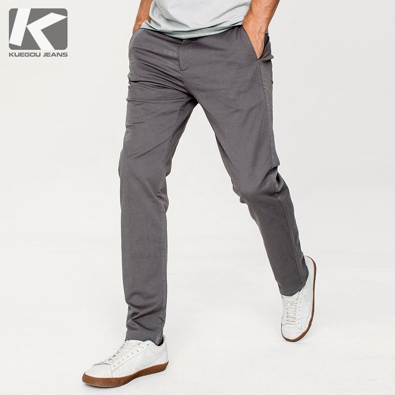 Autunno Pantaloni casual da uomo in cotone tinta unita tinta unita tasca per uomo Moda Slim Fit 2018 New maschile indossare pantaloni lunghi dritti 71301