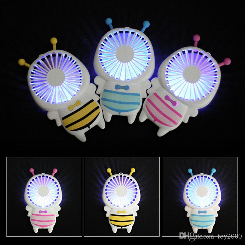 Hot Handy USB charge Fan Mini Bee Handle Charging Electric Fans Thin Handheld Portable Luminous Night Light For Home Office Gifts 3 Colors