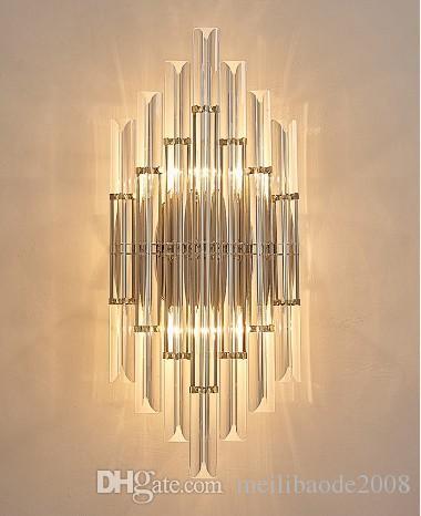 Modern Brief Wall Lights Living Room Bedside Brief Wall Lamps Creative Art Stair Corridor LED Crystal Wall Lamp Sconce LLFA