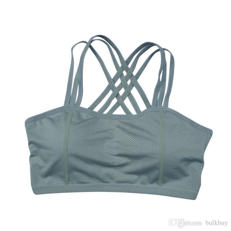 Женщины спортивный бюстгальтер тренировки йога фитнес майка стрейч бесшовные Racerback проложенный