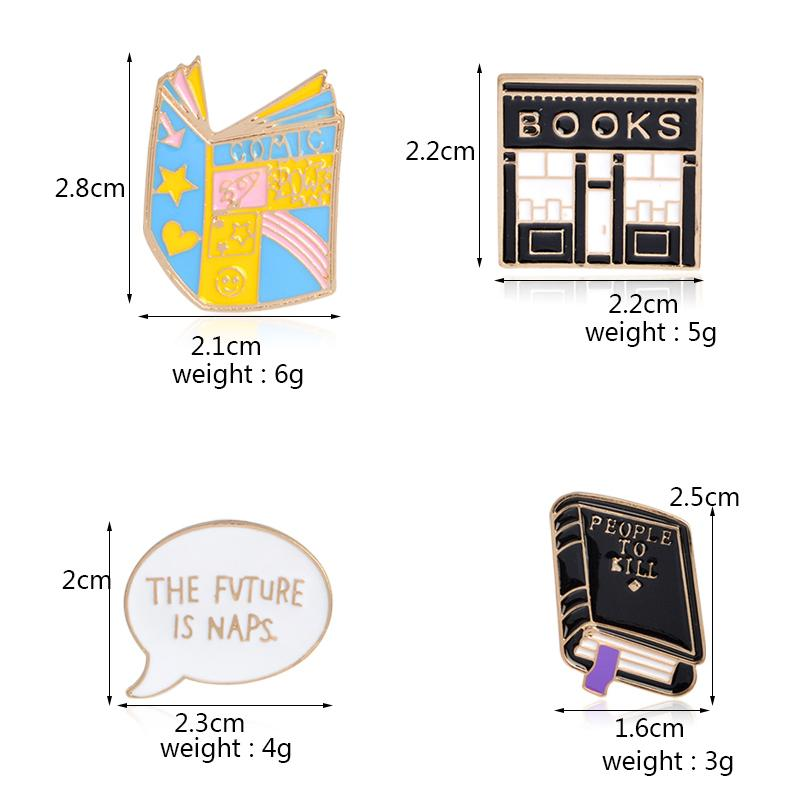 4pcs/set COMIC Black book PEOPLE TO KILL Bookstore Brooch Denim Jacket Pin Buckle Shirt Badge Cartoon Jewelry Gift for kids