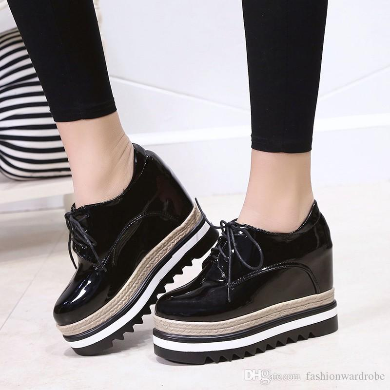 Patent Leather Lace Up Wedges High