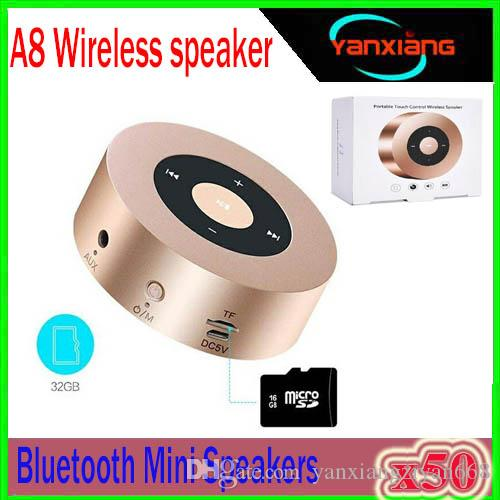 A8 mini portable handree supper bass stereo wireless bluetooth v4.2 speaker smart touch keys metal mp3 music player with mic 50PCS YX-A8-5