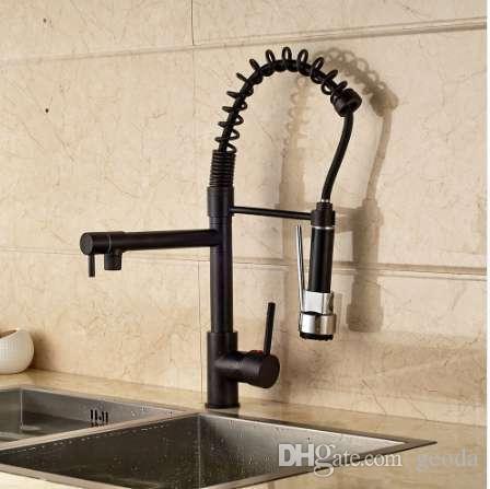 Nova EUA Frete Grátis Cozinha Primavera Bacia Torneira Luzes LED Oil-Esfregado Bronze Sink Mixer Tap Deck Mount Único Furo