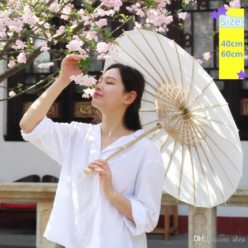 40 60 cm Diámetro de China Japón del paraguas de papel tradicional Sombrilla Marco de bambú mango de madera de bodas Sombrillas artificial blanca Paraguas