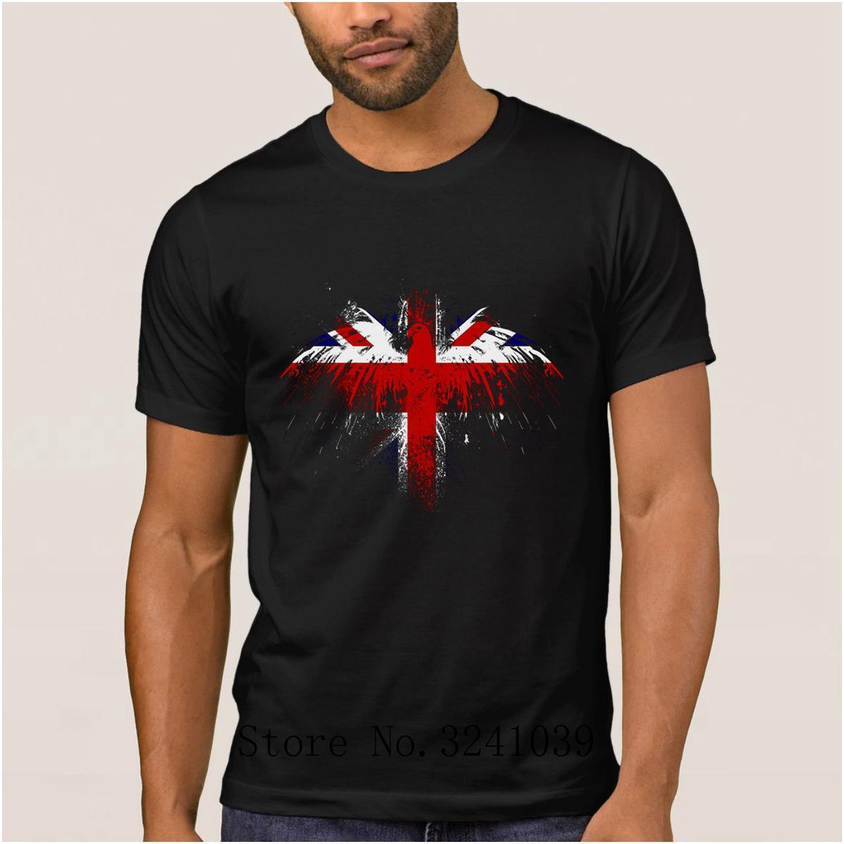 Impressão Humor britânico camisa dos homens t verão Gráfico Águia Pintura t-shirt Letras tshirt tamanho grande Euro S-3xl cor sólida