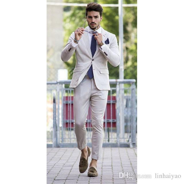 2018 Custom Made Summer Style Plage Costume Hommes Pour Mariage 2 Pièces (Veste + Pantalon + Cravate) Un Bouton Garçon De L'homme Smokers De Mariage Blazer
