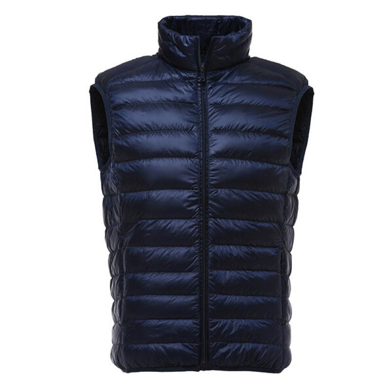 Chaleco de invierno de los hombres abajo concede el pato ocasional de los hombres chaquetas sin mangas Ultraligero 90% chalecos Colete Masculino hombres Outwear Chaleco