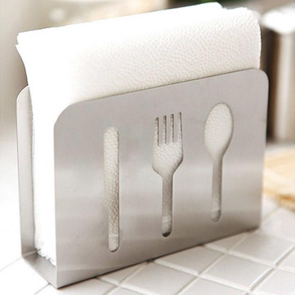النمط الأوروبي المقاوم للصدأ ملعقة شوكة عيدان منشفة منشفة رف مربع الأنسجة حامل للمنزل مطبخ الديكور