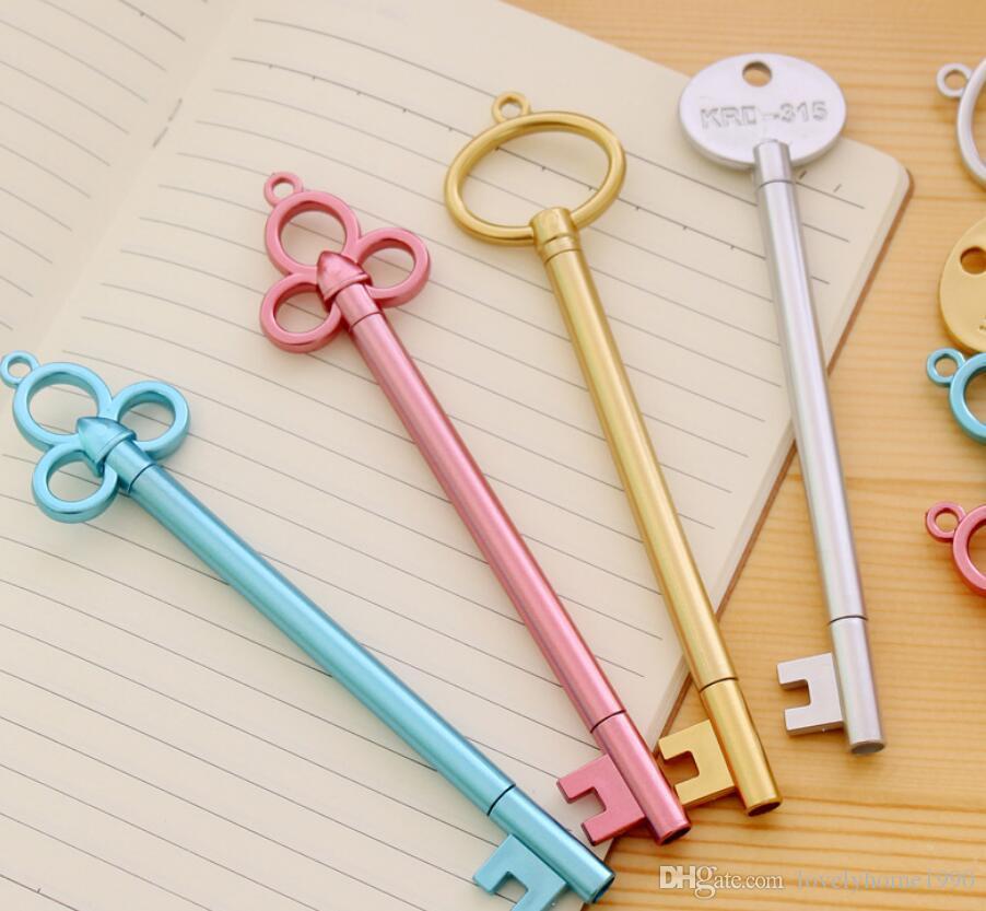 Penne creative della penna del gel di plastica di chiave d'annata di 0.38mm per i rifornimenti di scuola dei bambini