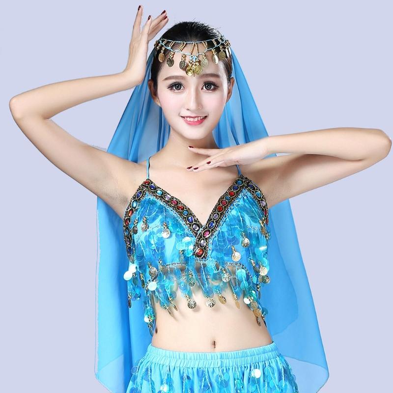 Women Sequin Halter Bra Latin Belly Dance Tassel Top Party Club Costume Crop Top