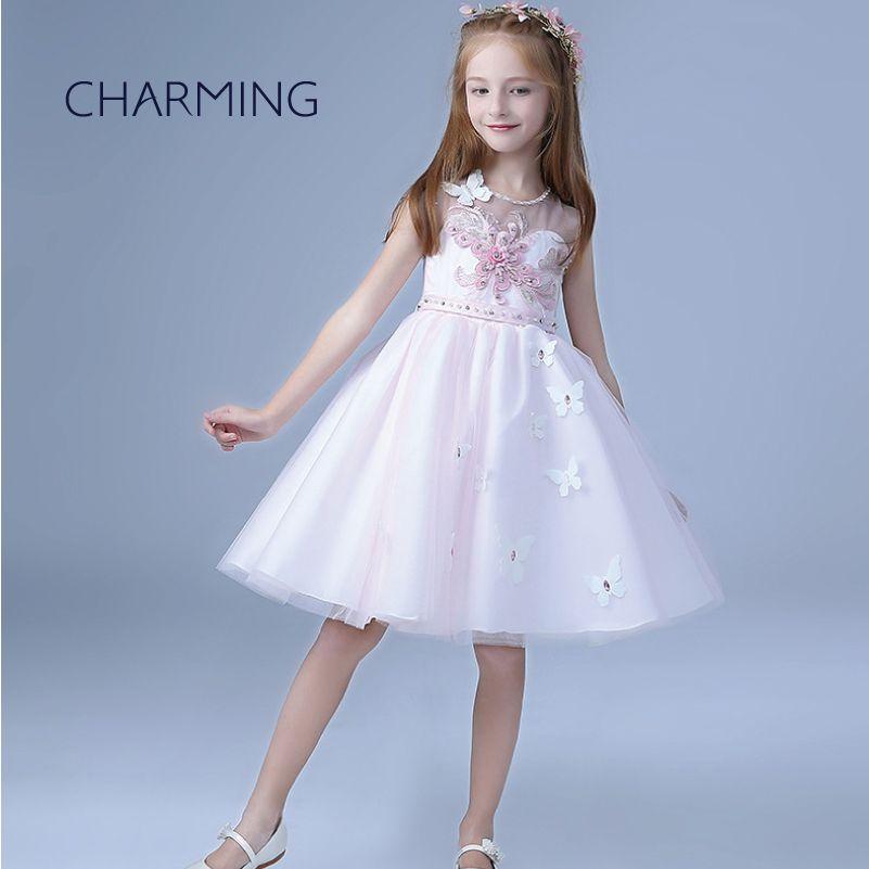 Vestido para los vestidos de la muchacha del cabrito para las niñas cuello redondo de manga larga para niños vestidos de las niñas ropa