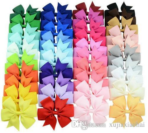40 colores de 3 pulgadas de la cinta linda acanalado arcos del pelo con el clip de los regalos de la niña de pin Boutique Party Accesorios para el cabello Cabello