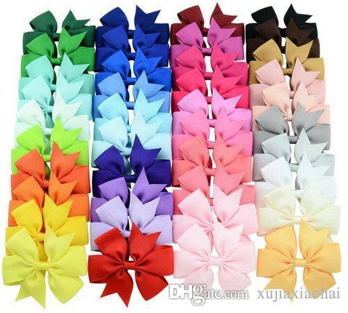 40 가지 색상 3 인치 귀여운 늑골이있는 리본 머리 자리 클립 아기 소녀 부티크 액세서리 파티 선물