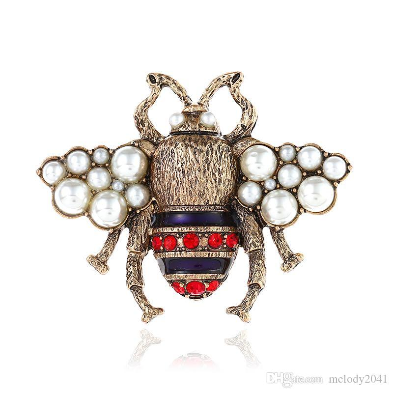 New Vintage Bee Brooch Fashion Pearl Ornaments With Rhinestone Honeybee Pins Women Jewelry Wholesale 2 Colors