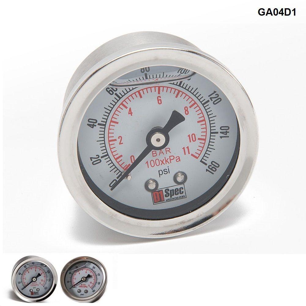 TANSKY - Universele Brandstofdrukmeter Vloeistof 0-160 PSI Oliedrukmeter Brandstofmeter Wit Gezicht TK-GA01