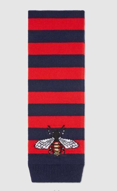 Silks Scarves Blooms print silk scarf Silk wool Blooms snake bee dragon tiger head feline Striped wool scarf with bee