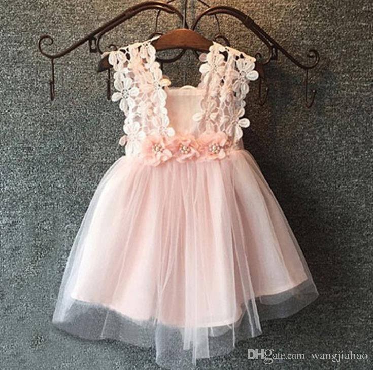 children girls vestidos 2018 newest Lace floral pink layered tulle tutu lovely princess party sundress girls dress hot selling killing price