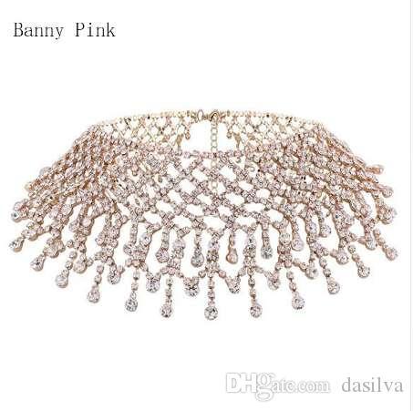 Gargantilla Cadena Cristal para las mujeres elegante collar cristalino completo de la borla de Gargantilla joyería nupcial de la manera ColliersColar