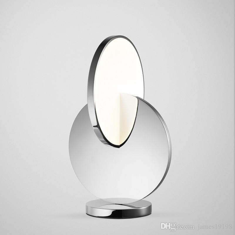 Modern Silver round metal LED table lamp bedside showroom decor mirror Table light study Bedroom eye Room Home lighting TA058