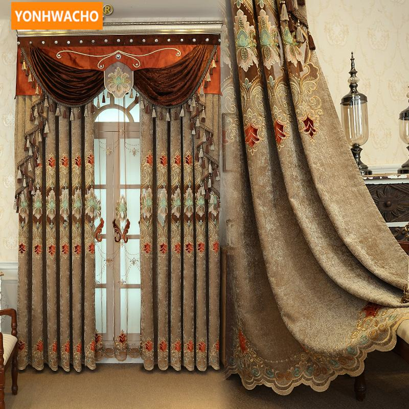 Пользовательские шторы Высококачественные европейские синель полые вышивки шторы кофейная ткань плотные шторы тюль valance драп N764