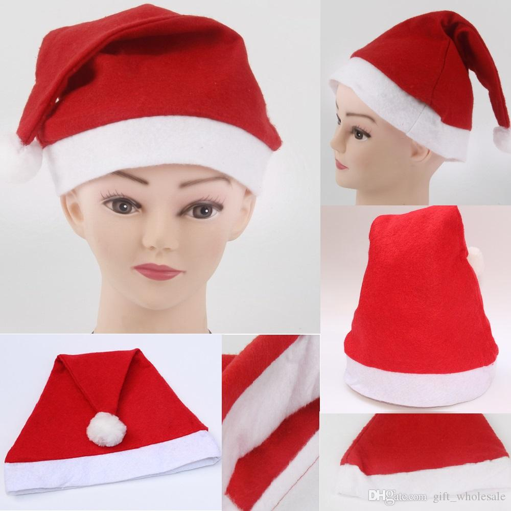 Cheap Red Santa Claus Hat Ultra Soft Non-woven cloth Christmas Cosplay Hats Christmas Decoration Adults Child Christmas Party Hats