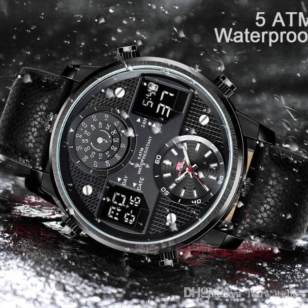 Le nouveau diamètre électronique KT720 sport hommes en cuir montre étanche qui brillent dans le noir montre trois hommes de mouvement de base de 50 mm
