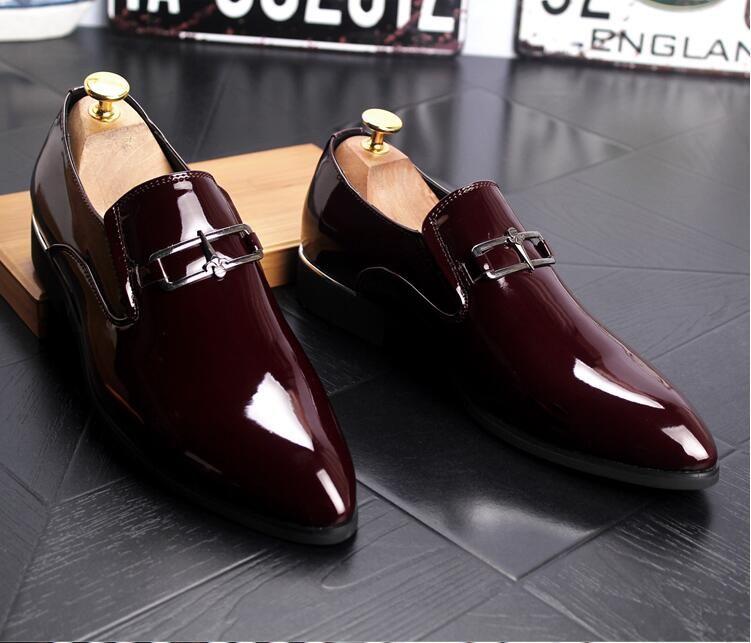 Новый Стиль Мужская Деловая Кожа Формальная Обувь Острым Носом Мужская Классическая Обувь Лакированная Кожа Оксфорды Свадебная Обувь G197