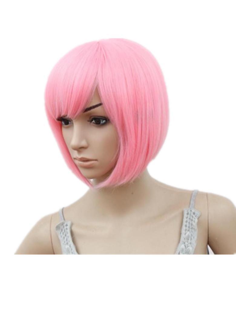 Боб парик косой бахромой челки короткие волнистые парики розовый фиолетовый блондин красный синий оранжевый синтетические волосы термостойкие женские парики